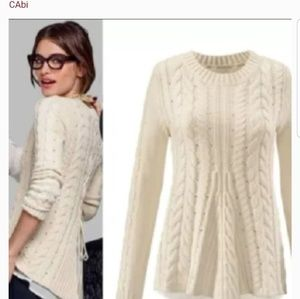 Cabi 3157 Lace Up Cable Knit Sweater Sz M Ivory